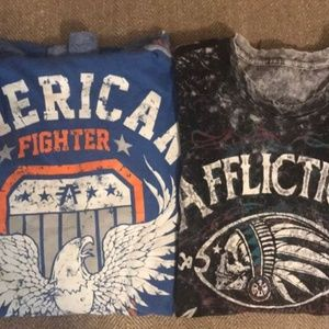2 MENS LARGE AFFLICATION & AMERICAN FIGHTER SHIRTS